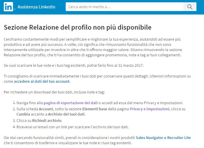 Linkedin e i tag non più disponibili
