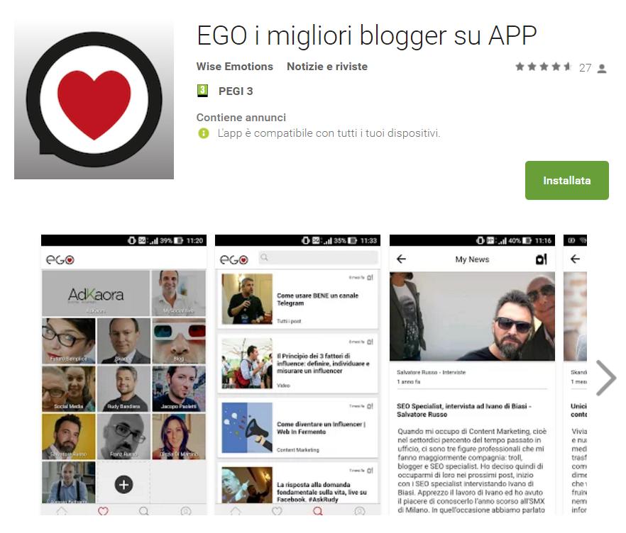 ego app con i migliori blogger