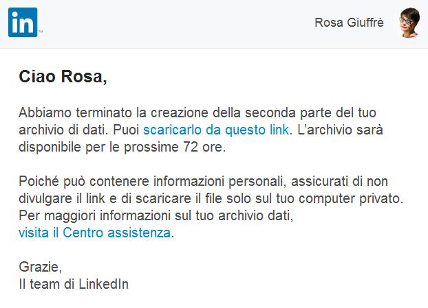 Come richiedere larchivio dati di Linkedin 1