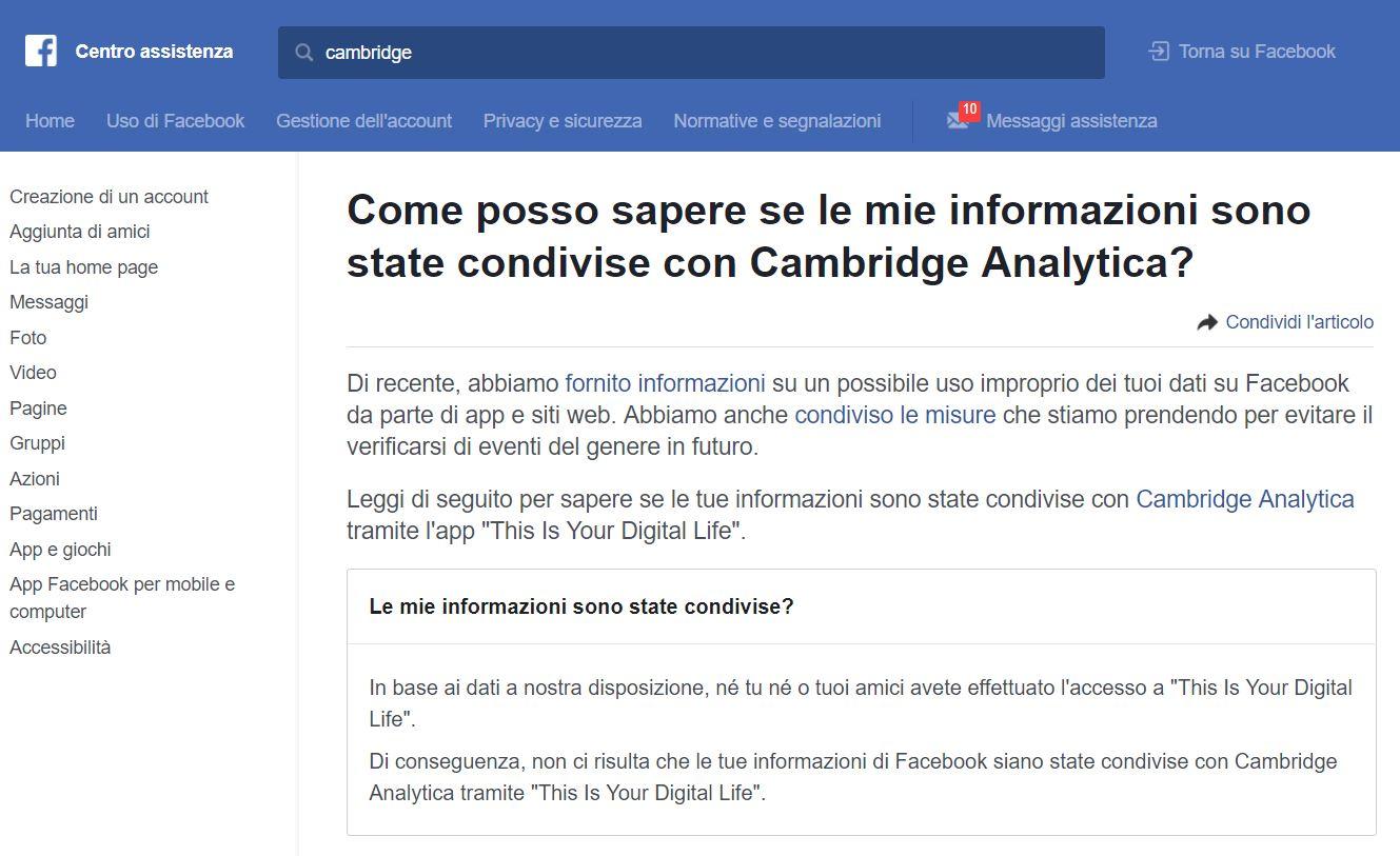sapere se il tuo account è stato usato da Cambridge Analytica